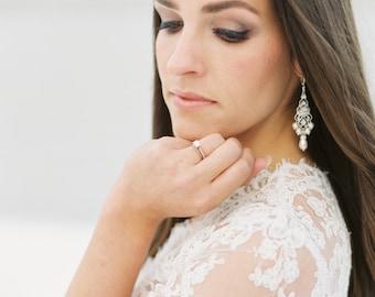 Vintage Bridal Chandelier Earrings, Filigree Chandelier Simulated Pearl Earrings with Crystal from Swarovski