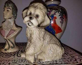 Darling vintage mid century ceramic glazed poodle dog figurine