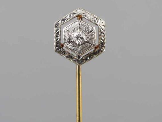 Antique Art Deco 14k yellow gold and platinum .05 carat diamond halo stick pin / stickpin / lapel pin / tie pin / tie tack / brooch