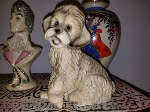 Darling vintage mid century ceramic glazed poodle dog figurine