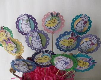 Handmade Easter Cupcake Toppers, Rabbits and Chicks Toppers, Handstamped Easter Cupcake Toppers,