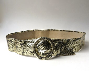 80s vintage Metallic Gold Reptile Embossed Leather Cinch Belt / Omega Leather Cinch Belt