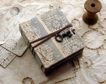 Sea Foam - Unique Lace Journal, Ocean Inspired Pages, Vintage Key - OOAK