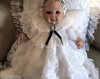 DRESS White Lace Cameo dress for REBORN or NEWBORN Baby  dress headband shoes