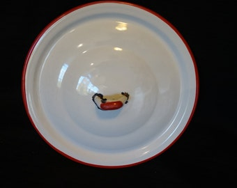 Vintage White Enamel Lid with Red Handle 8 5/8 inches