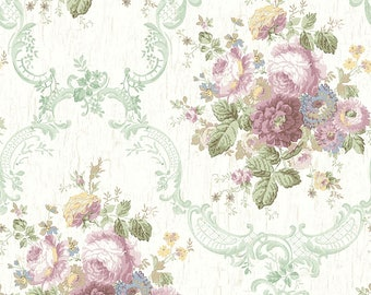 Dollhouse Miniature Shabby Chic Wallpaper Pink and Green Victorian Floral 1:12