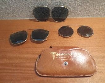 3 Vintage 1940's Clip-Ons Glass Lenses Green lenses / glass lenses / plastic lenses / steampunk glasses