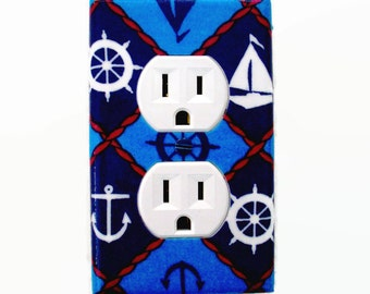 Nautical Outlet Cover - Nautical Switch Plate Cover - Nautical Nursery Decor - Sailboat Helm Anchors Bathroom Switchplate - Bedroom Decor