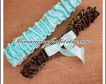 Simple Satin and Fully Reverseable Bridal Garter with BONUS Something Blue..You Choose The Colors..shown in camo/aqua/white