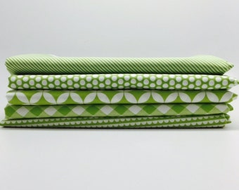 SPRING SALE - 1/2 Yard Bundle (5) - Basics in Green - Bonnie and Camille for Moda Fabrics