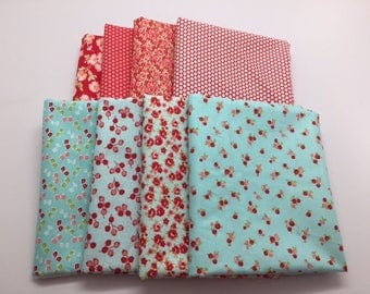 SUMMER SALE - Fat Quarter Bundle (8) - Little Ruby in Red and Aqua - Bonnie and Camille for Moda Fabrics