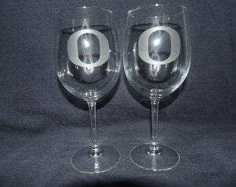 Set Of 2 Oregon Ducks NCAA Wine Glasses