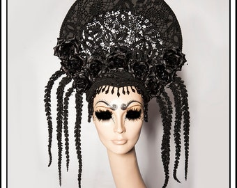 Rainy Days... Black Halo with Black Roses, Lace, Glittery Branches and Jewels Religious Headdress