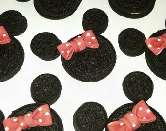 Red Minnie Mouse Fondant Bows - 24 Count - Birthday Cupcake Toppers - Oreo Cookie Sized Edible Fondant Hot Pink Polka Dots -  Clearance Sale