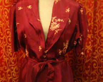 "1940's. 34"" bust, long maroon rayon  taffeta robe,"