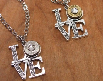"""Bullet Jewelry - Gift for Her -Love Necklace - """"LOVE to Shoot"""" Classic Shaped Bullet Casing Pendant Necklace - Gunz & Glitz™ Collection"""