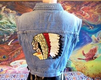 Denim Vest, Native American, Blue denim vest, Indian Vest, Up-cycle, size L
