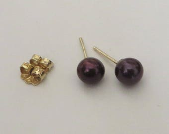 6mm Black Pearl Stud Earrings on solid 14K Y Gold, free US first class shipping on vintage items