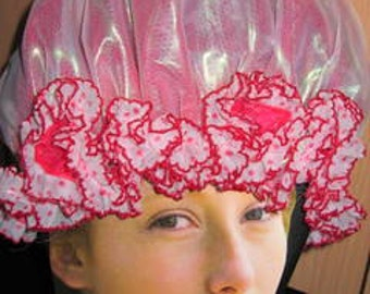 RED and WHITE SHOWERCAP  with Vintage Frilly Spotty Trim Size Small