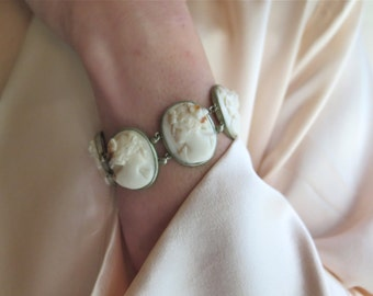 Antique Cameo Bracelet in Silver and Angel Skin Coral Grand Tour Souvenir Italy 1800's