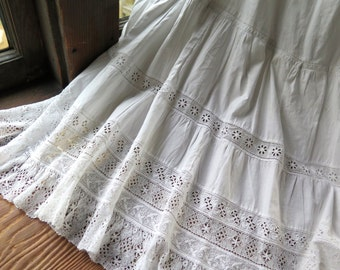 "Antique Petticoat in White Cotton with Bobbin Lace, Handmade Eyelet Lace Trim 28"" Waist"