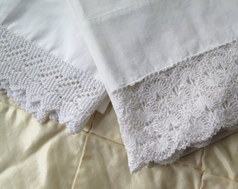 Vintage White Pillowcases with Lace Trim Pair Handmade Lace Standard Set/2