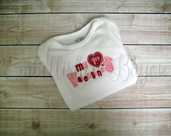 My First Valentine's Day Appliqued Embroidered T-shirt or Bodysuit for Girls or Boys