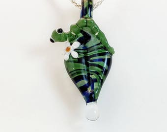 Glass Caterpillar on Leaf Pendant