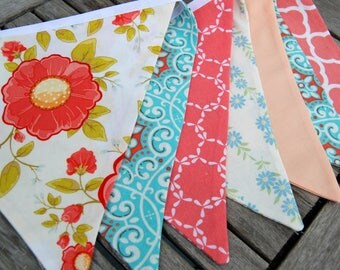 Peach, Coral, Blue, Aqua Banner Bunting Fabric -- Wedding, Baby Shower, Birthday Decor, Gift Table -- Romantic, Vintage Theme -- Large Flags