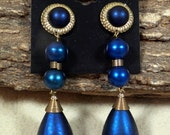"Vintage Midnight Blue Tear Drop 4"" Earrings Clip On w/Goldtone Accents, Metallic, Excellent, Bold, Striking, Fun, Hipster"