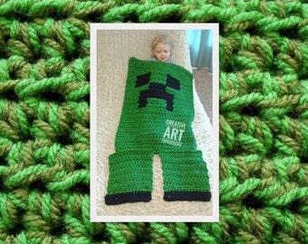 MOB Gamer Blanket, 18-24 Month Blanket, Crocheted MOB Blanket, Light & Dark Green, Gamer Blanket