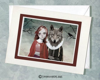 Fairytale Greeting Card - Card & Envelope - Keepsake Card - Blank Card - Red Riding Hood And Wolf