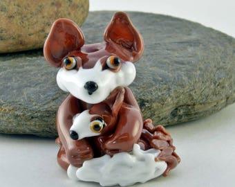 FOX mummy and baby,  lampwork glass bead, whimisical lampwork focal bead, Izzybeads SRA