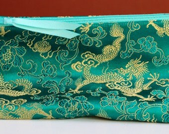 Teal and Gold Brocade Ditty Bag