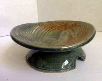 pedestal dish, handmade stoneware, trinket dish, soap dish