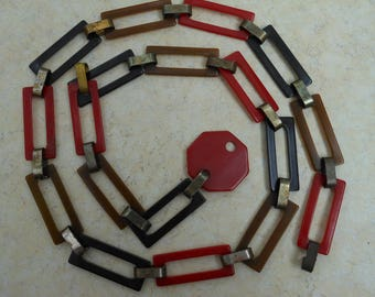 Bakelite Jewelry Belt Retro square link belt Red Black Brown deco necklace vintage rare buckle clip