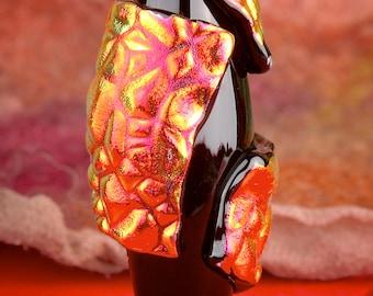"Lampwork Beads SRA ""Bubbling Raw Dichroic"" Handmade Dichroic Glass Focal Bead Textural Freeform"