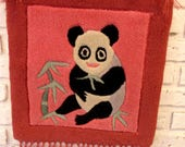 Vintage Punch Needle Embroidery Panda Rug Pink Textile Wall Hanging Decor