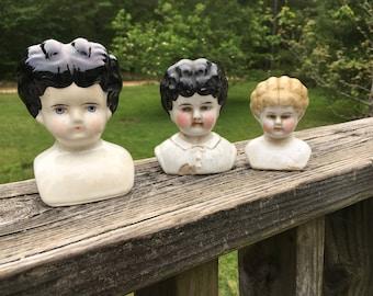 Vintage Set of 3 Lady Doll Head Shoulder Bust--Female Woman Doll Head--Glazed Porcelain Bisque--Doll Restoration Replacement Parts