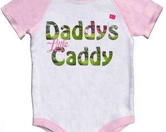 Girl Golf Romper Daddy's Little Caddy Pink Raglan Sleeve Infant Baby Bodysuits to Girly Tees