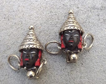 1950s blackamoor face earrings clip ons clip backs - charity for cats and kittens