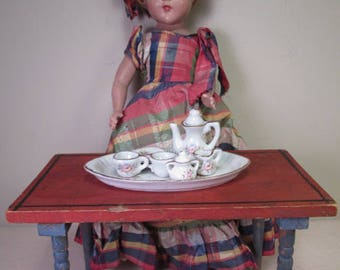 """Vintage Miniature Doll Furniture - Old Wooden Work Table - Larger Size - 5 1/2"""" Tall"""