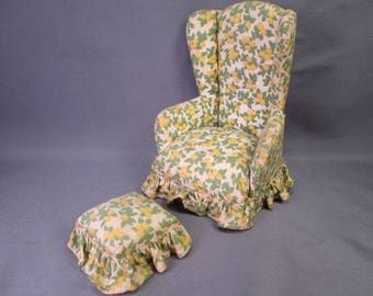 "Vintage Dollhouse Furniture - Upholstered Wing Back Chair and Ottoman - 1"" Scale"