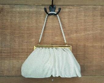 Whiting and Davis Cream Mesh Purse Handbag / vintage 1960's