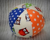 Baby Toy Cloth Ball with OWL Fabric and Jingle Bell