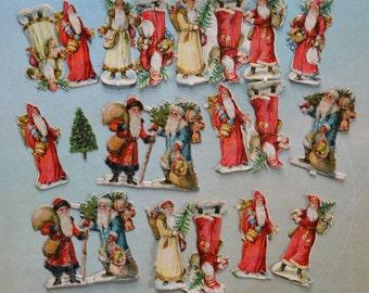 Antique Miniature Embossed Santa Claus Victorian Scraps 20pc