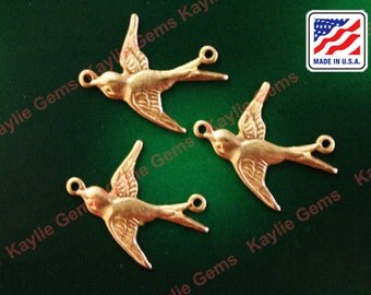 Bird Charm Swallow Stamping Art Raw Brass Made in USA- S4 - 6pcs