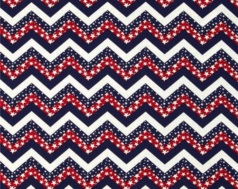 Made in the USA Fabric Chevron & Stars Red, White, Blue 34 by 45 inches  Last of the Bolt
