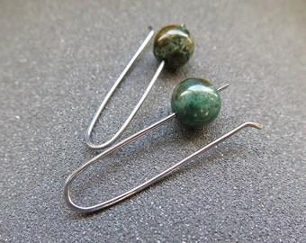 green ocean jasper earrings. stone jewelry. niobium hypoallergenic earwires.