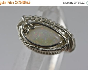 10% OFF HOLIDAY SALE Opal Wire Wrapped Talisman Amulet Ring Unique Original Design by Philip Crow